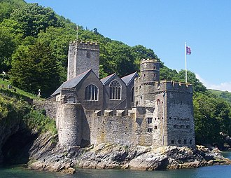 Dartmouth Castle - Dartmouth Castle, showing the 15th-century gun positions and St Petroc's Church