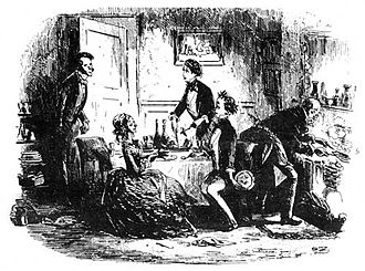 An original illustration by Phiz from the novel David Copperfield, which is widely regarded as Dickens's most autobiographical work David Copperfield, We are disturbed in our cookery.jpg