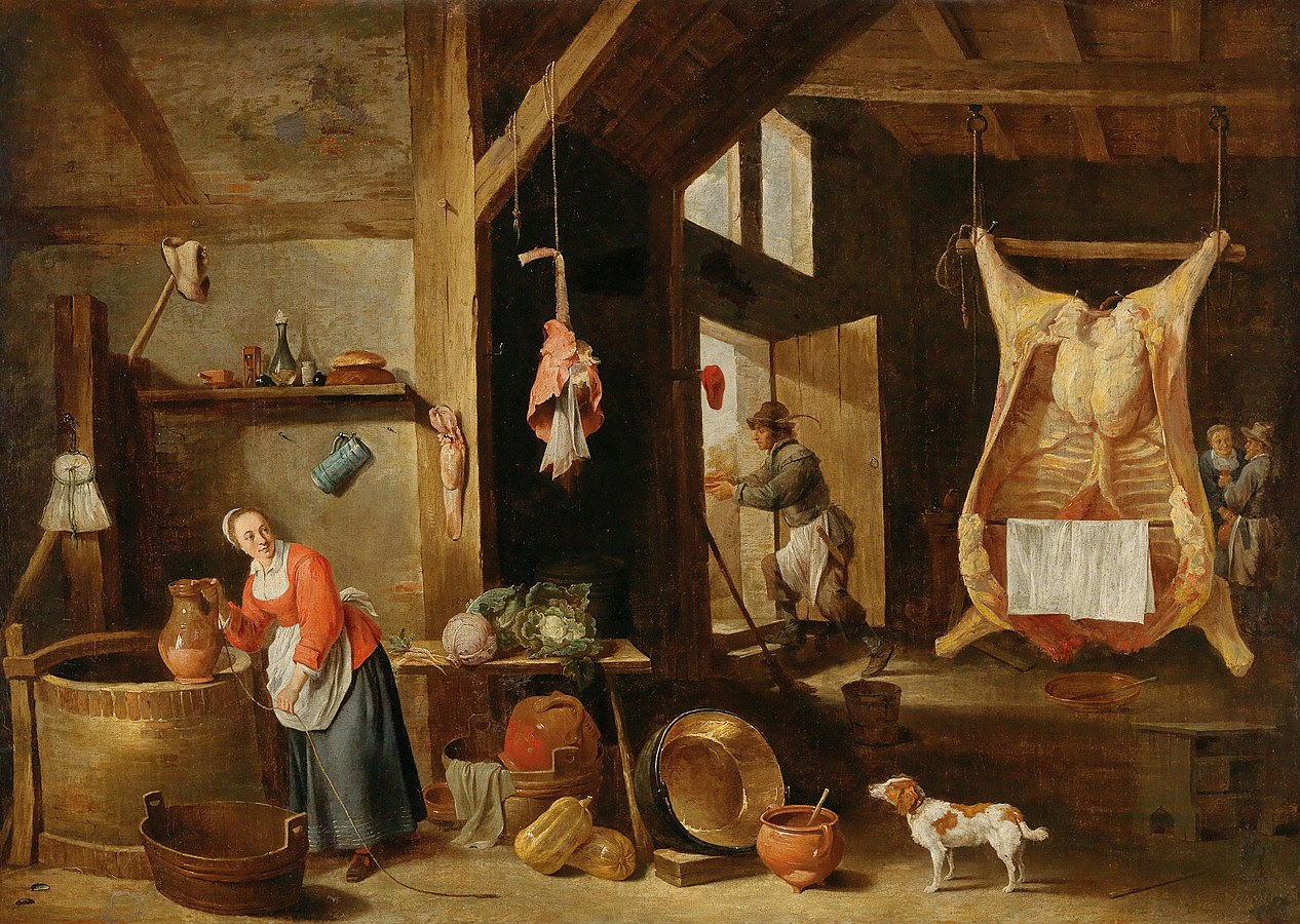 An interior of a barn with a scullery maid at a well
