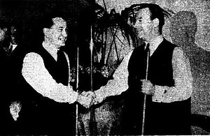 Horace Lindrum - Joe Davis and Horace Lindrum shaking hands before the 1946 World Snooker Championship final