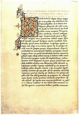 De Bello Hispaniensi - A page of a manuscript of De bello Hispaniensi: Budapest, Egyetemi Könyvtár, Cod. Lat. 11 (ca. 1460/1470)