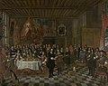 De ontvangst van Charles II en zijn broers door het Brugse Sint-Barbaragilde, 1671, Groeningemuseum, 0040164000.jpg
