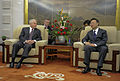 Defense.gov News Photo 110111-F-6655M-002 - Secretary of Defense Robert M. Gates and Chinese Minister of Foreign Affairs Yang Jiechi talk during a meeting at the ministry in Beijing China.jpg