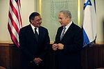 Defense.gov News Photo 111003-F-RG147-869 - Secretary of Defense Leon Panetta left meets with Israeli Prime Minister Binyamin Netanyahu Oct. 3 2011. Panetta is traveling in the Middle East.jpg