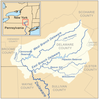 The headwaters of the Delaware River including the river's East and West Branches and other tributaries Delaware headwaters map.png