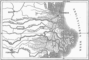Polesine - The middle and east parts of Polesine in 1885. You can note that the main courses of the Adige and the Po are those of nowadays.