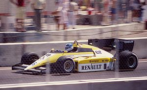 Renault in Formula One - Derek Warwick qualified third for Renault at the 1984 Dallas Grand Prix, but spun off after 10 laps.