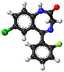 Desalkylflurazepam ball-and-stick model.png