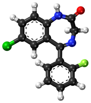 N-Desalkylflurazepam - Image: Desalkylflurazepam ball and stick model