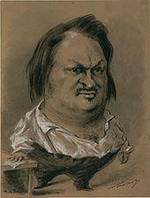 Dessin de Balzac en pied, où la tête est grossie.
