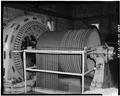 Detail view of upper sheave wheel. - Dam No. 4 Hydroelectric Plant, Potomac River, Martinsburg, Berkeley County, WV HAER WVA,2-SHEP.V,1-52.tif
