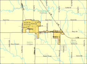 Detailed map of Oakley, Kansas.png