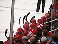 Detroit Red Wings Bench, Detroit Red Wings vs. Pittsburgh Penguins, Joe Louis Arena, Detroit, Michigan (21703505855).jpg