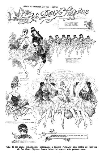 Les Deux Pigeons (ballet) - Sketches of the original ballet that appeared on a page of the Paris Journal Amusant