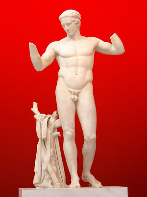 Diadumenos - The Athens example, with the quiver in view. National Archaeological Museum of Athens. Height: 1.95 metres (6 feet 4 inches)