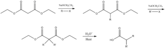 Malonic ester synthesis - Image: Dialkylation malonic ester synthesis mechanism