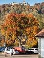 Die Farben des Herbstes in Stein am Rhein überragt von der Burg Hohenklingen.jpg