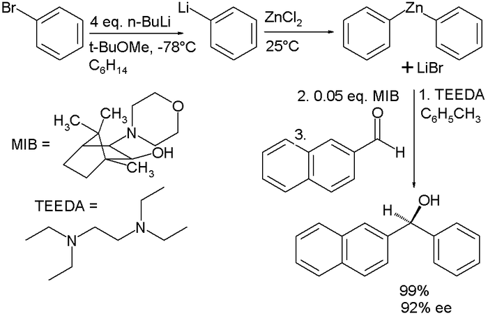 Addition of diphenylzinc to an aldehyde DiphenylzincCarbonylAddition.png