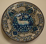 Dish with running quadrupeds, Sultanabad ware, Iran, Ilkhanid period, first half of 14th century, earthenware with underglaze painting in blue, black, turquoise - Cincinnati Art Museum - DSC04050.JPG