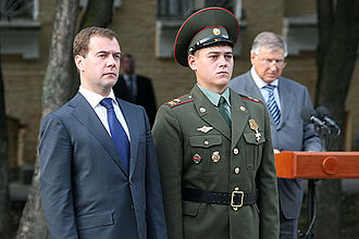 Cross of St. George - August 2008, Russian President Dmitry Medvedev with a junior sergeant just decorated with the Cross of Saint George 4th class for distinction in battle in the 2008 South Ossetia war