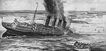 """Kresba britského časopisu """"The Sphere"""" o potopení Lusitanie"""