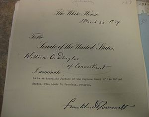 William O. Douglas - Douglas's Supreme Court nomination