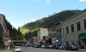 Wallace, Idaho - Downtown Wallace with I-90 visible on the bridge at the back