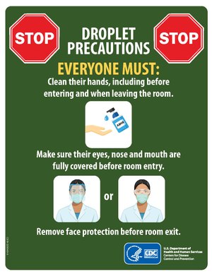 "A green sign with illustrations and the text: ""Droplet Precautions. Everyone must clean their hands, including before entering and when leaving the room; Make sure their eyes, nose and mouth are fully covered before room entry; Remove face protection before room exit."""