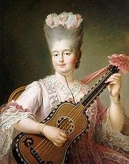 Madame Clotilde playing the guitar