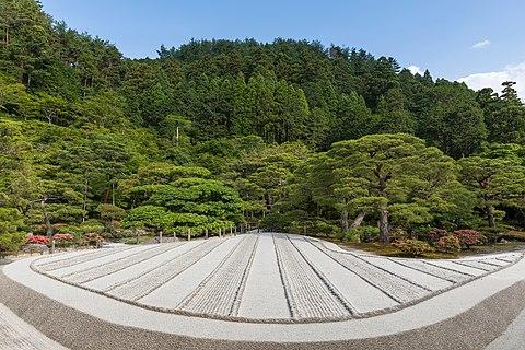 Dry-sand Zen garden made of beige stripes a sunny day at Higashiyama Jisho-ji Buddhist temple Ginkaku-ji Kyoto Japan