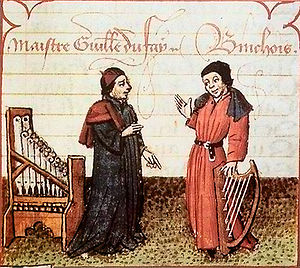 1390s in music - Guillaume Dufay (left), with Gilles Binchois, circa 1440s