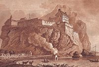 Dumbarton castle in 1800 and functioning lime kiln with smoke in the foreground.