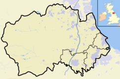 Map of England and Wales with a red dot representing the location of the Far High House Meadows SSSI, Co Durham