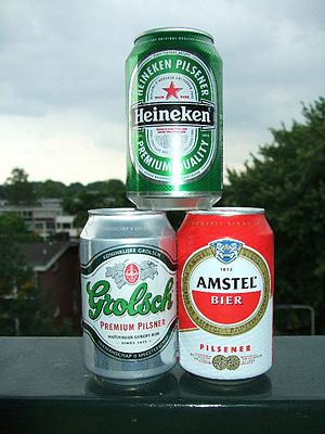 Beer in the Netherlands - Amstel, Grolsch and Heineken – three popular Dutch brands