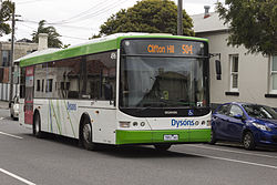 Dyson's number 496 (7951AO) Scania on route 504 in Carlton North, 2013.JPG