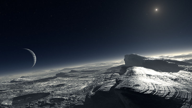 Surface of Pluto. -230 degrees Celsius.