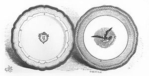 "China service of the Lincoln administration - Demonstration plates created in 1853 for the Franklin Pierce administration served as the basis for the Lincoln ""solferino"" china."
