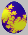 Easter egg painted with a Julia set, defined by the complex function, f(z)=z^2-0.4-0.59 1j.png