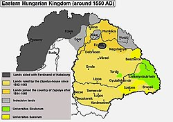 Eastern Hungarian Kingdom around 1550