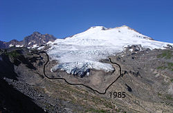 The Easton Glacier retreated 255 m from 1990 to 2005.