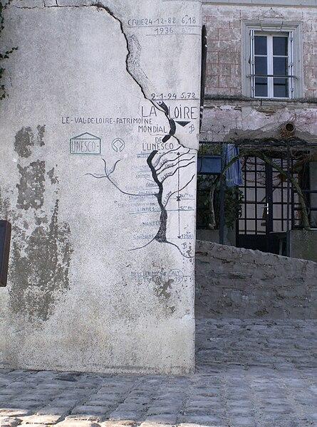 Echelle de crue à La Pointe, Bouchemaine, Maine-et-Loire, France