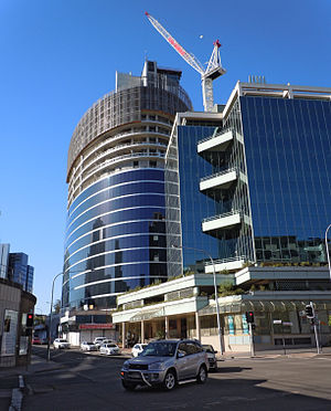 Parramatta - Eclipse Tower under construction in January 2012. At 89 m, this office tower is the tallest commercial building in Parramatta.