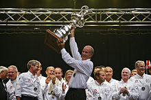 Ed Baird with the America's Cup in Geneva, Switzerland, 2007.jpg