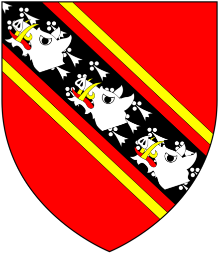 Arms of Edgcumbe: Gules, on a bend ermines cotised or three boar's heads couped argent EdgcumbeArms.png