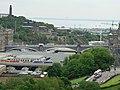 Edinburgh Waverley station and North Bridge from castle 2005-06-17.jpg