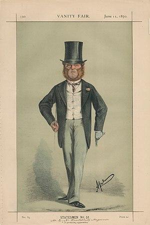 "Edward Knatchbull-Hugessen, 1st Baron Brabourne - ""A promising apprentice"". Knatchbull-Hugessen M.P. as caricatured by Ape (Carlo Pellegrini) in Vanity Fair, June 1870."