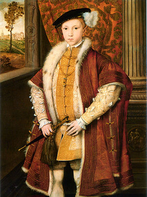Hunsdon House - Portrait of Edward VI, with Hunsdon House in the background