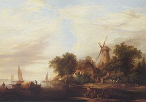 Edward Williams (painter) - Edward Williams Cattle Watering by a Windmill
