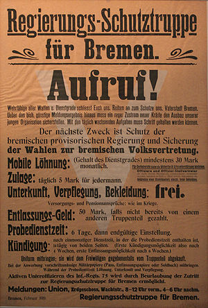 Bremen Soviet Republic - Recruitment poster, calling for men to join the Bremen Militia.