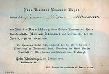Einladung Zur Hochzeit Mit Emma Weyer (1904)